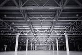 Large modern dark  empty storehouse