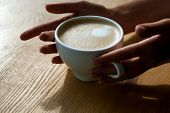 Relax In Cafe Or Coffee Shop And Drinking. Fresh Morning Coffee With Milk And Cream Froth. Barista P poster