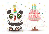 Vector Cute Panda With Strawberry Birthday Cake In Kawaii Style. Happy Birthday! Cute Panda In Birth poster