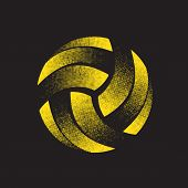 Abstract Flat Yellow Halftone Volleyball Silhouette Isolated On Black Background poster