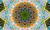 Very Detailed And Colorful Star-shaped Mandala Art With Bright Details And Patterns. poster
