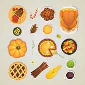Vector Set Thanksgiving Dinner Icons, Top View. Food On The Table: Roast Turkey, Pie, Sauce, Pumpkin poster