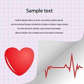 Illustration Of Cardiogram, Heart Pulse With Space For Text. Medical Purple Vector Banner. Eps. poster