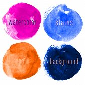 Vector Set Of Hand Drawn Watercolor Circles For Backdrops. Colorful Artistic Hand Drawn Backgrounds. poster
