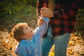 Happy Family, Father And Baby Son Playing And Laughing On Autumn Walk. Man With Beard, Dad With Youn poster