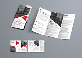Tri-fold Brochure Template In Modern Style With Red Triangles And Space For Photo. poster