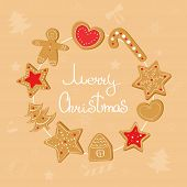 Christmas Wreath With Ginger Cookies: Ginger Man, Ginger Star, Ginger Tree, Ginger House. poster