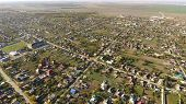Top View Of The Village. The Village Of Poltavskaya. Top View Of The Village. One Can See The Roofs  poster