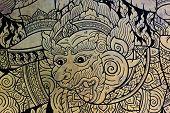 image of hanuman  - Traditional Thai Art Of Hanuman Or Monkey Painting From Ramayana Epic - JPG