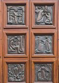 stock photo of vicenza  - Storytelling door of the cathedral of Vicenza Italy - JPG