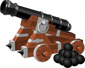 stock photo of cannon  - Old pirate ship cannon  and cannon balls - JPG