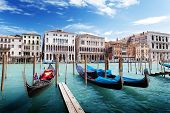 stock photo of gondola  - gondolas in Venice - JPG