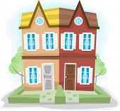 stock photo of duplex  - Illustration of a Duplex House with Dissimilar Colors - JPG