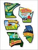 Colorful vector travel illustrations- Midwest United States