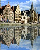 image of gents  - gabled houses along a canal in Gent Belgium with reflection on the water - JPG