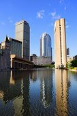 picture of prudential center  - Christian Science Plaza in midtown Boston with urban city view and water reflection - JPG