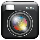 stock photo of flashing  - Vector app icon with camera lens and flash light for web applications - JPG
