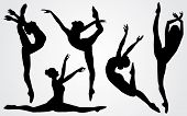 foto of ballerina  - Vector illustration black silhouettes of a ballerina - JPG