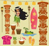 stock photo of tiki  - Hawaii Symbols and Icons - JPG