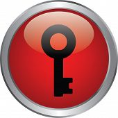 image of safeguard  - key icon on red circle button - JPG