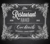 Vintage frame with floral ornament with grunge background for restaurant name design. Chalkboard art