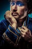 image of prince charming  - Blue prince dressed with elegant prussian blue jacket - JPG