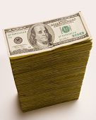 image of one hundred dollar bill  - cash stack - JPG