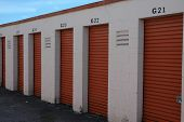 image of self-storage  - A group of self lock storage spaces  in a row - JPG