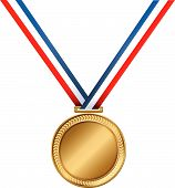foto of gold medal  - A Golden medal award on a striped ribbon - JPG