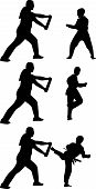 picture of taekwondo  - taekwondo practice coach and sportsman silhouette vector - JPG
