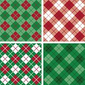 picture of tartan plaid  - Four seamless argyle and plaid patterns in holiday colors - JPG