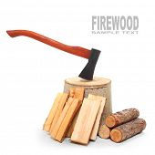 stock photo of sauna  - Cut logs fire wood and axe - JPG