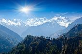 stock photo of house woods  - Beautiful landscape in Himalayas Annapurna area Nepal - JPG