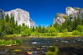 stock photo of granite dome  - Yosemite Valley with El Captain Rock and Bridal Veil Falls in Yosemite National Park - JPG