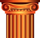 stock photo of pilaster  - isolated decorated column top capital vector illustration - JPG