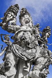pic of mahabharata  - Kumbakarna Laga statue in Eka Karya Botanical Garden Bedugul Bali Indonesia - JPG