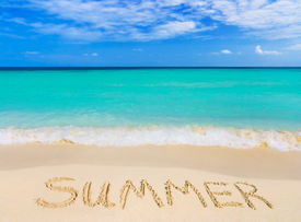 picture of summer beach  - Word Summer on beach  - JPG