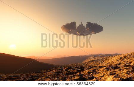Постер, плакат: Космический корабль на фоне планеты , холст на подрамнике
