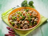 integral orecchiette with broccoli, selective focus