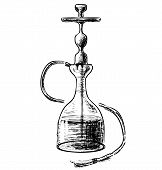 image of peace-pipe  - Hookah isolated on white background sketch vector illustration - JPG