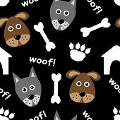 pic of hound dog  - Cartoon seamless pattern with dogs and dog accessories - JPG
