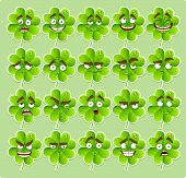 Vector cute cartoon four-leaf clover with many expressions stick