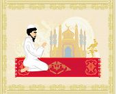 picture of muslim man  - abstract religious background  - JPG