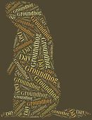 image of groundhog  - Tag or word cloud Groundhog Day related in shape of groundhog - JPG
