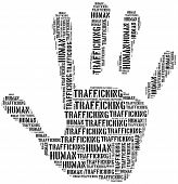 stock photo of mafia  - Tag or word cloud human trafficking awareness day related in shape of hand or palm - JPG