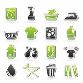 stock photo of centrifuge  - Washing machine and laundry icons  - JPG