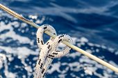 picture of rope pulling  - Sailboat rope detail on yacht  - JPG