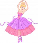foto of ballerina  - Beautiful princess and ballerina dancing ballet in a ball gown - JPG