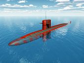 stock photo of u-boat  - Computer generated 3D illustration with an American Nuclear Submarine of the cold war - JPG