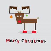 stock photo of black tail deer  - vector illustration of Christmas deer with words - JPG